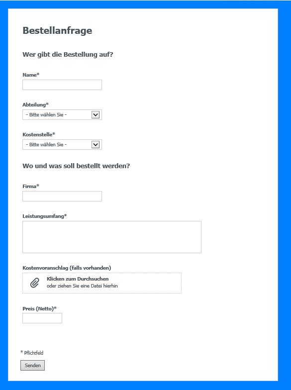 Bestellanfrage per Formular