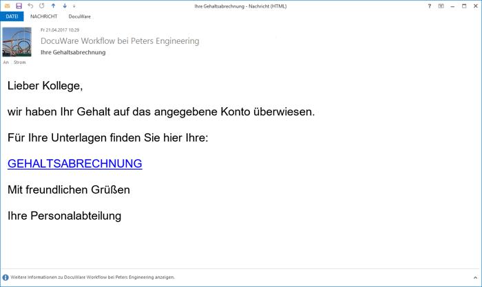 Effizient: E-Mail mit passwortgeschütztem Direkt-Link zur eigenen Gehaltsabrechnung
