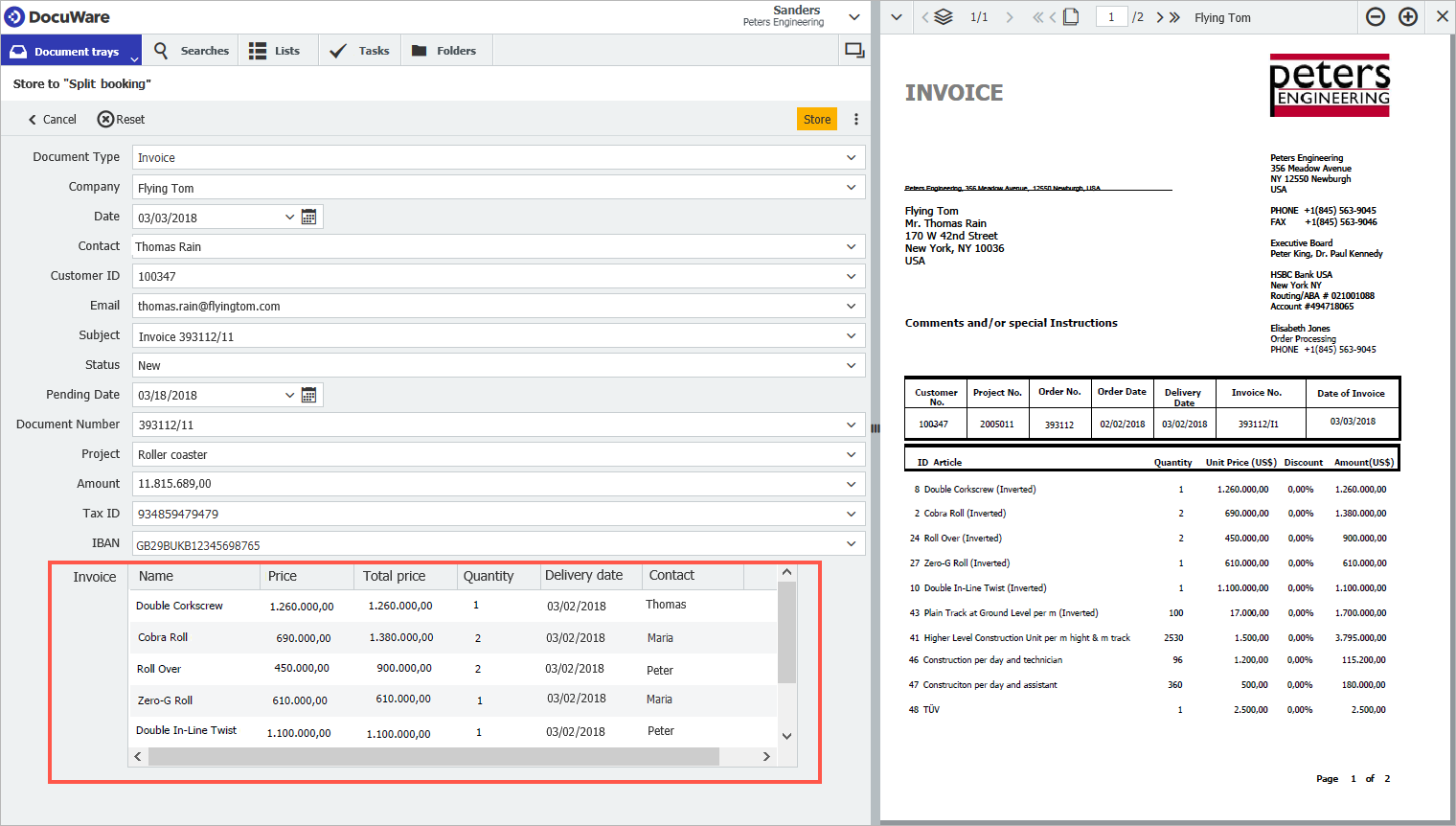 Workflow Manager uses the individual entries within these tables to steer the invoice workflow