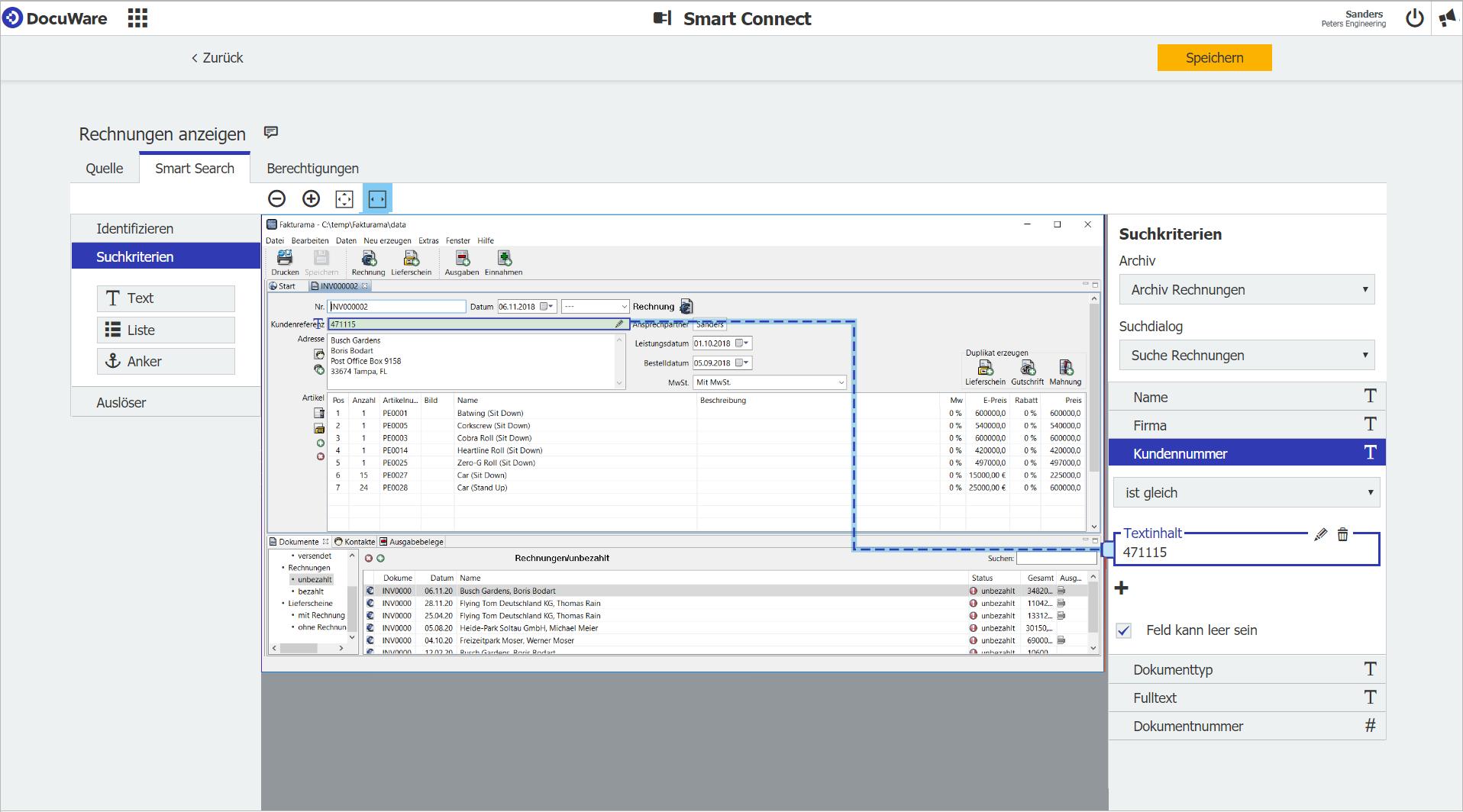 DocuWare Smart Connect: Erfassen Sie mit einem Screenshot das Fenster Ihrer Hauptanwendung, hier Ihres Buchhaltungsprogramms, und platzieren darin zum Beispiel den Smart-Search-Button für eine Suche