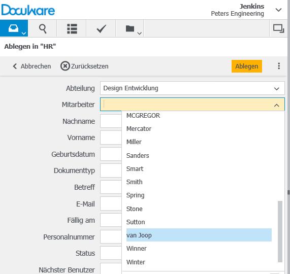 Auswahlliste im DocuWare Client