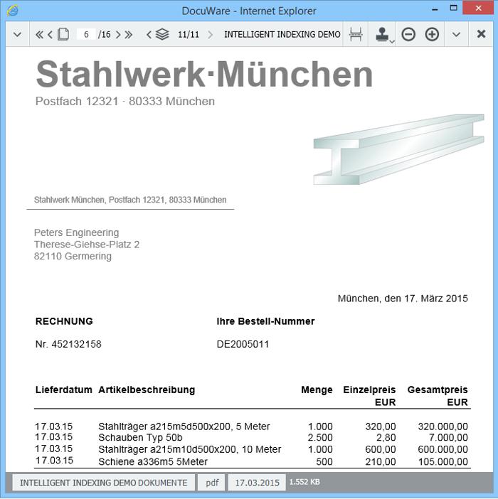 Der DocuWare Viewer mit eingeklappten Werkzeugleisten bietet mehr Platz für das Dokument
