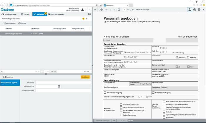 Die Daten werden automatisch in den Personalbogen übernommen und können von der HR-Abteilung mit internen Angaben ergänzt werden.