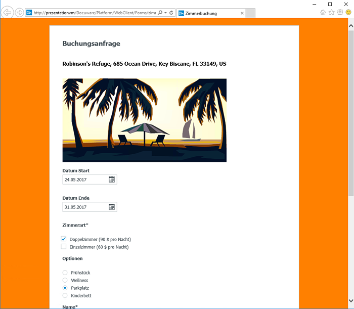 DocuWare Formular Design mit Bild und Farbe