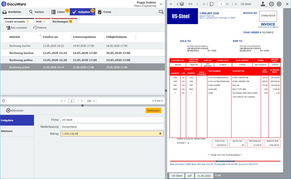 Die Aufgabe, eine Rechnung zu prüfen, erscheint in der Aufgabenliste der Buchhaltung im DocuWare Client.