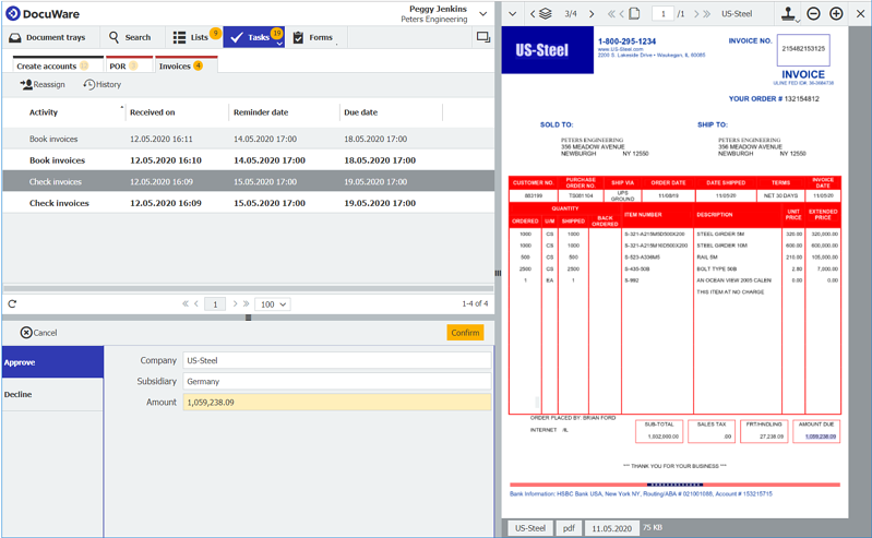 The task of checking an invoice appears in the Accounting Department's task list in DocuWare Client.