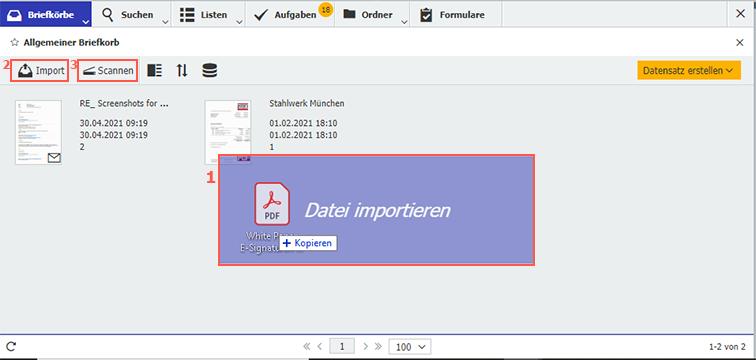 Dokumente in den DocuWare Briefkorb importieren