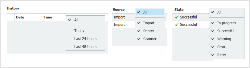 Using the drop-down menus in the column headers of the history, you can filter for time, source and status information for each.
