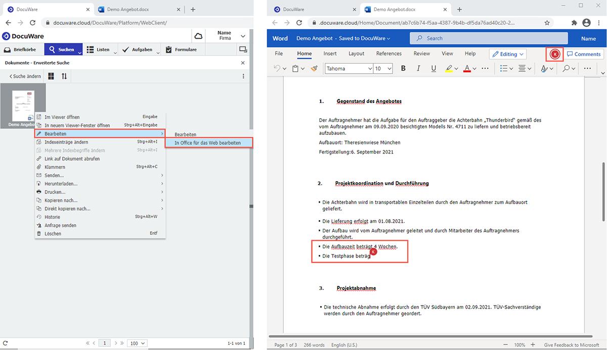 Beim Bearbeiten in Office für das Web wird das Dokument in einem neuen Browser-Tab geöffnet. Mit der Funktion können mehrere Kollegen gleichzeitig an einem Dokumentarbeiten.