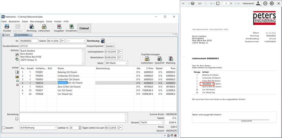 In einem Buchhaltungsprogramm (links) markieren Sie eine Nummer oder einen Artikel, drücken das Tastaturkürzel und die zugehörigen Dokumente in DocuWare, hier ein Lieferschein, werden angezeigt (rechts).