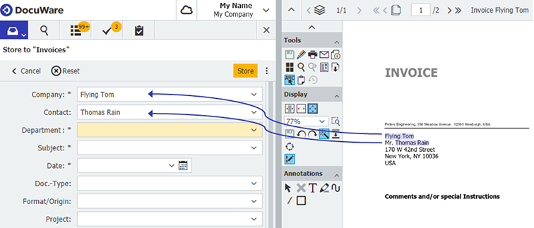 One Click Indexing in DocuWare Web Client