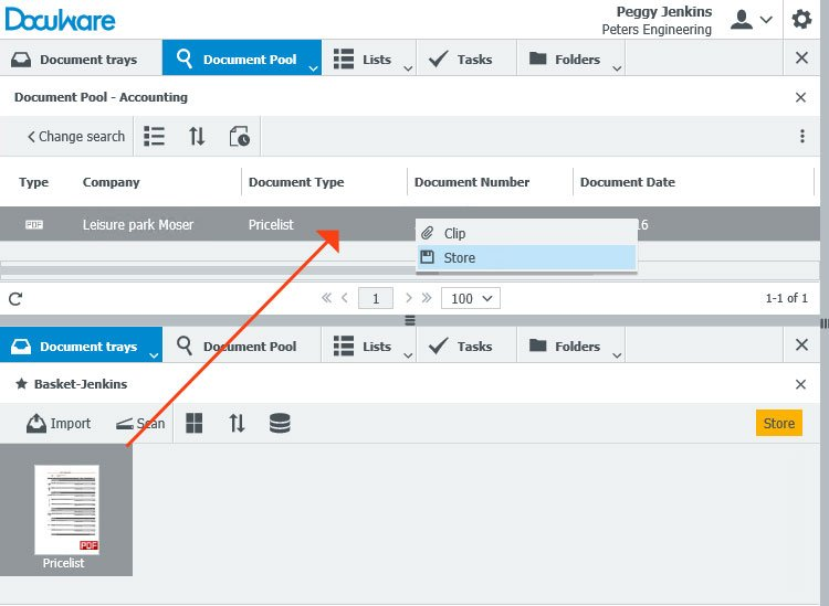 Drag the new document from the tray onto the document in the result list to automatically apply the existing index values