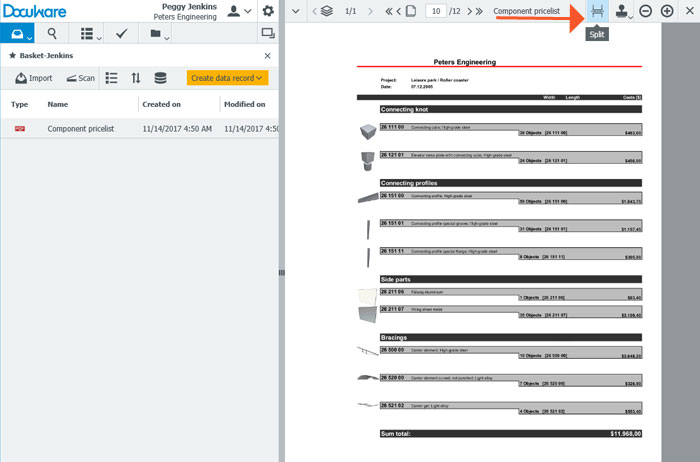 Tip: Splitting a PDF Document in DocuWare Viewer