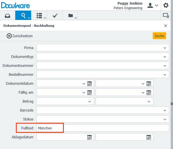 """Zu allen Archiven mit Volltext-Unterstützung gibt es in jedem Suchdialog die Suchzeile """"Fulltext""""."""
