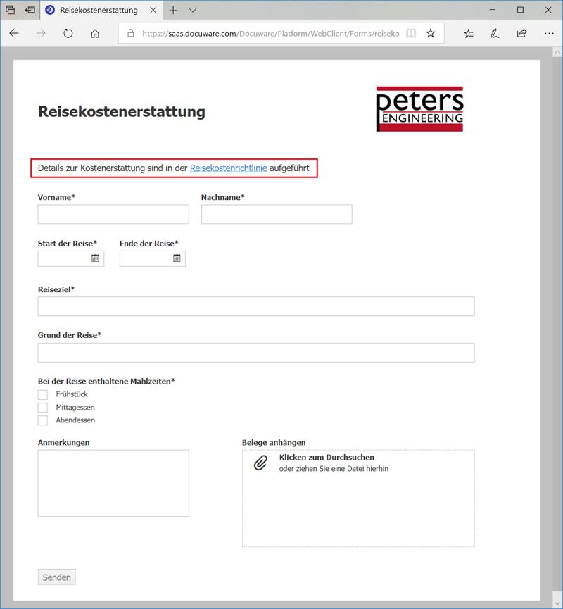 Reisekostenabrechnung als DocuWare Formular