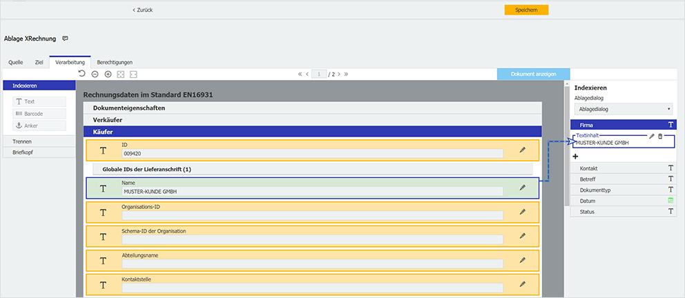 DocuWare: Die Daten der XML-Rechnung werden Ihnen in der Konfiguration für Dokumentverarbeitung ähnlich wie für PDF-Rechnungen angezeigt.