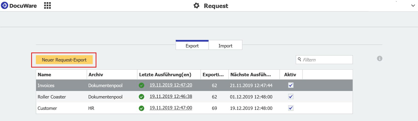 Konfiguration eines mobilen Archivs in DocuWare