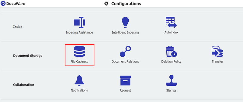 In the DocuWare Configuration you can configure a file cabinet.
