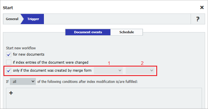 To be able to enhance forms in Workflow Manager, a document must have been created with DocuWare Forms using a merge form with fill areas and as a Fillable PDF.