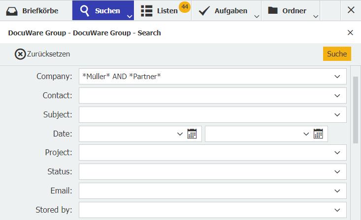 Um alle Schreibweisen mit einer Suchanfrage zu berücksichtigen, geben Sie in das Suchfeld folgendes ein: *Müller* AND *Partner*