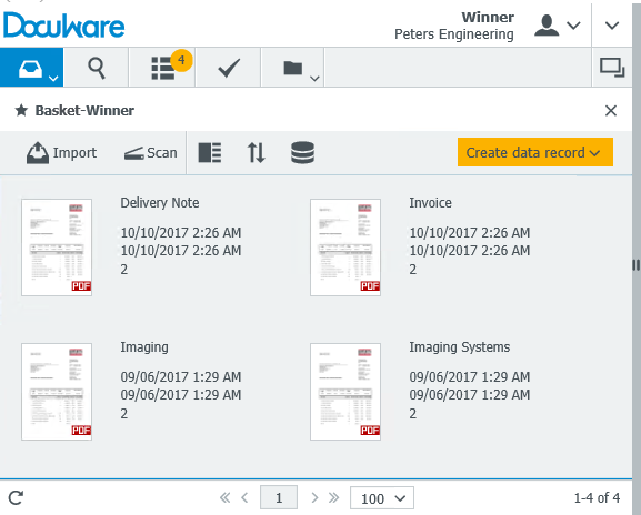 DocuWare automatically imports all documents from the Import Folder.