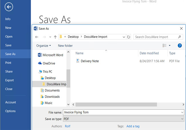 """Select this folder from within any program, e.g. Word or Excel, when using """"Save As."""""""