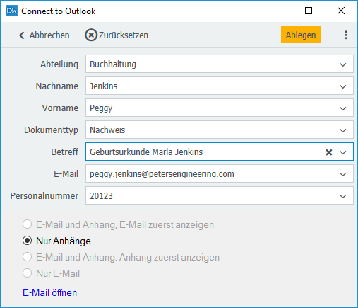 "Connect to Outlook: Ablagedialog mit der Option ""Nur Anhänge"""