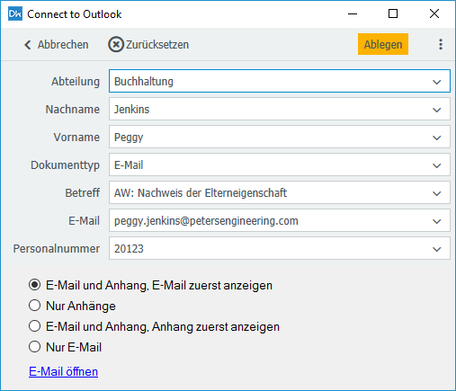 Connect to Outlook: Ablagedialog