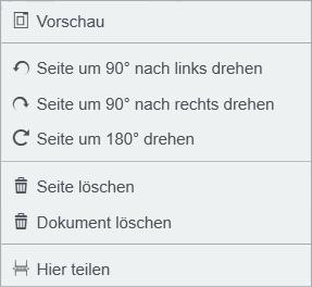 In der Übersicht können Sie Seiten drehen oder löschen und Dokumente teilen bzw. Seiten in einem Dokument hinzufügen. Die Funktionen finden Sie im Kontextmenü, das per Rechtsklick zu öffnen ist.
