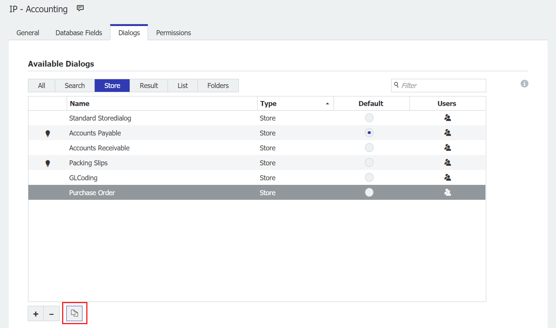 Dialog area in DocuWare Configuration