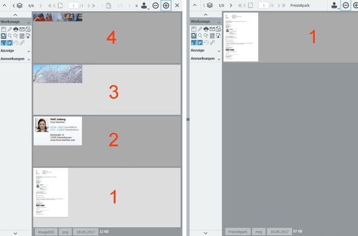 E-Mail im DocuWare Viewer mit Dateianhängseln (links) und ohne Dateianhängsel (rechts)