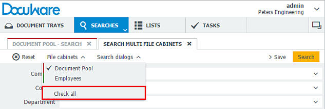 In general, for a search through multiple file cabinets, you choose the file cabinets along with a search dialog.