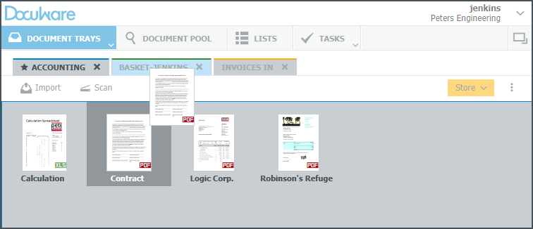 Move a document from one tray to another in DocuWare Client