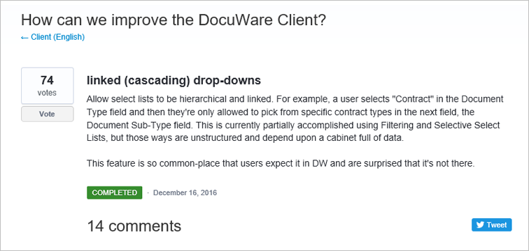 With our Customer Feedback Forum, DocuWare offers a central point where you as a user can enter your wishes and ideas for DocuWare features.
