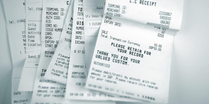 white paper receipts