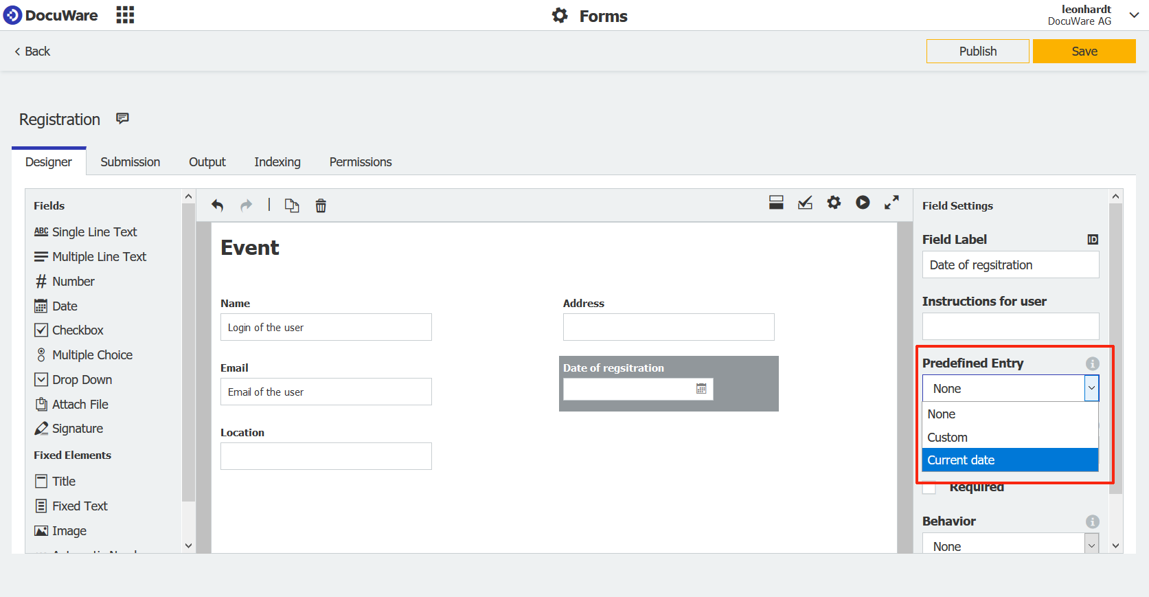 Forms predefined Entry EN