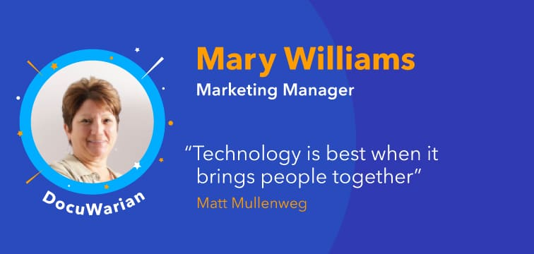 Photo of Mary Williams DocuWare Marketing Manager on purple background