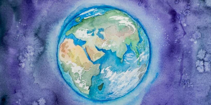World map on purple background