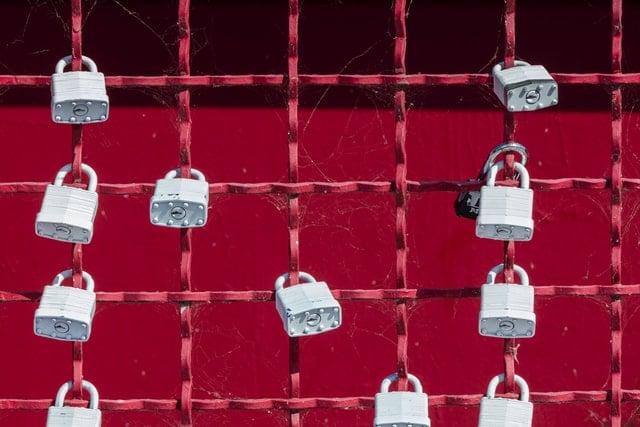 locks on a wire fence